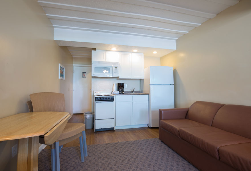 Hotel Room With Kitchen King Bed Layout Sleeps 4